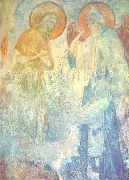 fresco of an angel delivering the monastic rule to St. Pachomius
