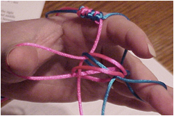 picture of hand tying a prayer rope knot