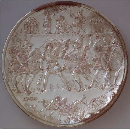 Byzantine plate embossed with scene of David fighting Goliath